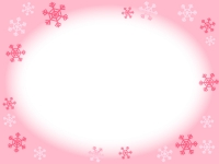 雪の結晶のピンク色フレーム飾り枠イラスト