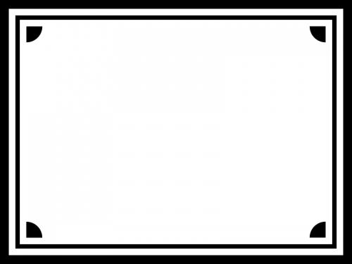 白黒のシンプルな四隅フレーム飾り枠イラスト