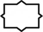 白黒のシンプルな多角形フレーム飾り枠イラスト