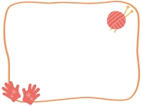 赤い手袋と毛糸玉のフレーム飾り枠イラスト
