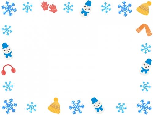 雪の結晶と冬の小物・雪だるまの囲みフレーム飾り枠イラスト