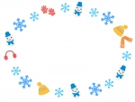 雪の結晶と冬の小物・雪だるまの楕円フレーム飾り枠イラスト