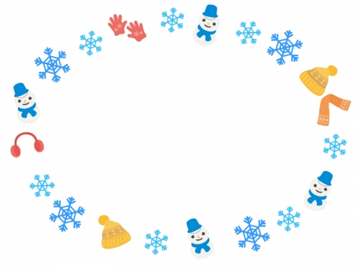 雪の結晶と冬の小物雪だるまの楕円フレーム飾り枠イラスト 無料