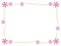ピンクの雪の結晶と橙点線のフレーム飾り枠イラスト