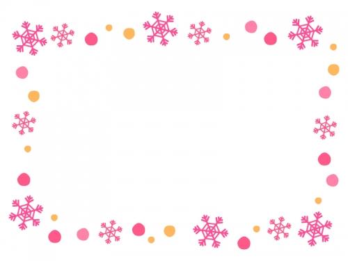 ピンクとオレンジ色の雪の結晶のフレーム飾り枠イラスト