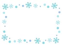 水色の雪の結晶のフレーム飾り枠イラスト