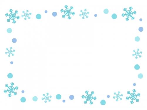 水色の雪の結晶のフレーム飾り枠イラスト 無料イラスト かわいいフリー