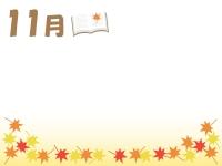 11月・読書の秋と紅葉のフレーム飾り枠イラスト