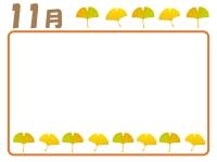 11月・秋のイチョウのフレーム囲み飾り枠イラスト
