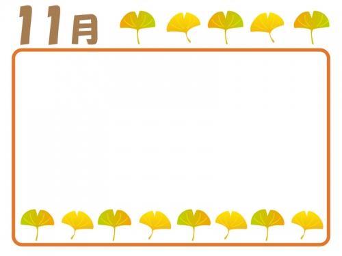 11月秋のイチョウのフレーム囲み飾り枠イラスト 無料イラスト