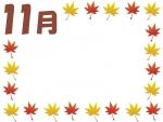 11月の紅葉もみじの囲み飾り枠フレームイラスト