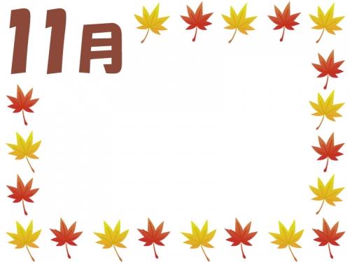 11月の紅葉もみじの囲み飾り枠フレームイラスト 無料イラスト かわいい