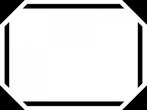 白黒のシンプルな太線の四隅フレーム飾り枠イラスト