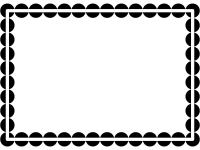 白黒の丸ドットのシンプルフレーム飾り枠イラスト