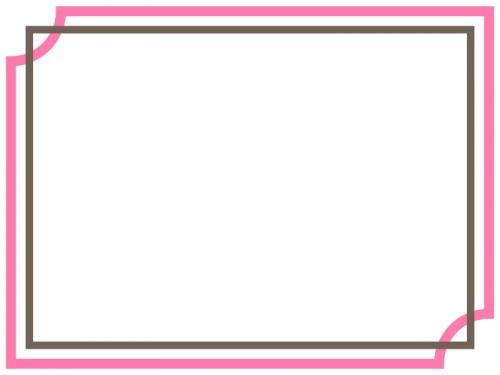 桃色×茶色のシンプルな二重線のフレーム飾り枠イラスト