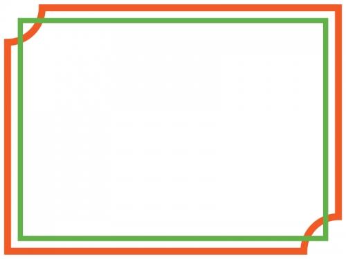 オレンジ色×緑色のシンプルな二重線のフレーム飾り枠イラスト