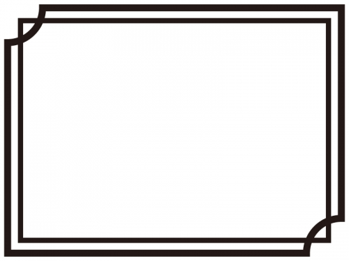 白黒のシンプルな二重線のフレーム飾り枠イラスト03