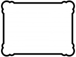 白黒の丸い角のシンプルな線のフレーム飾り枠イラスト