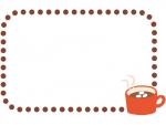 ココアの点線フレーム飾り枠イラスト