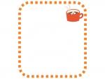 ココアのオレンジ色の点線フレーム飾り枠イラスト