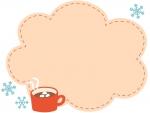 ココアと雪の結晶のもこもこフレーム飾り枠イラスト