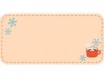 ココアと雪の結晶の横長フレーム飾り枠イラスト