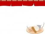 おでんと赤い暖簾(のれん)のフレーム飾り枠イラスト