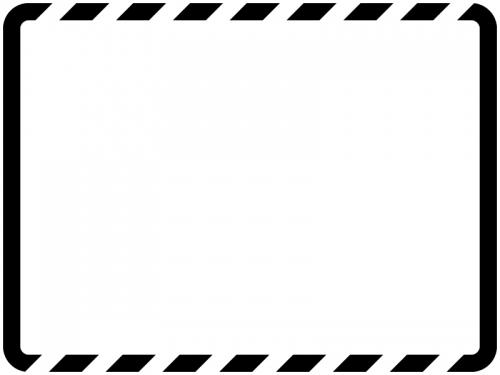 白黒の上下の斜めストライプのフレーム飾り枠イラスト