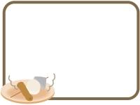 おでんの焦げ茶色のフレーム飾り枠イラスト