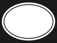 白黒のシンプルな楕円の線フレーム飾り枠イラスト