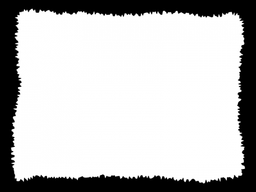 白黒のラフなギザギザ模様のフレーム飾り枠イラスト