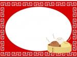 中華まんと中華模様の囲みフレーム飾り枠イラスト