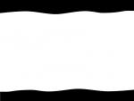 白黒の上下の波線フレーム飾り枠イラスト