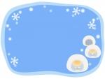 かまくらと雪の水色フレーム飾り枠イラスト