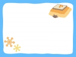 こたつとネコと雪の結晶の水色フレーム飾り枠イラスト