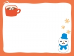 ココアと雪だるまのオレンジ色のフレーム飾り枠イラスト