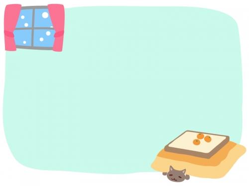 こたつとネコと雪降る窓辺のフレーム飾り枠イラスト
