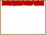 赤い暖簾(のれん)のフレーム飾り枠イラスト