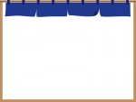 紺色の暖簾(のれん)のフレーム飾り枠イラスト
