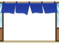 紺色の暖簾(のれん)と店舗のフレーム飾り枠イラスト