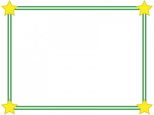 二重線の四隅の星フレーム飾り枠イラスト