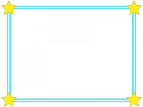 二重線の四隅の星フレーム飾り枠イラスト02