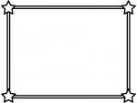 白黒の二重線の四隅の星フレーム飾り枠イラスト