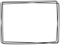 白黒の手書き風多重線のフレーム飾り枠イラスト