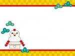 にわとり鏡餅と松葉の市松模様上下フレームの飾り枠イラスト