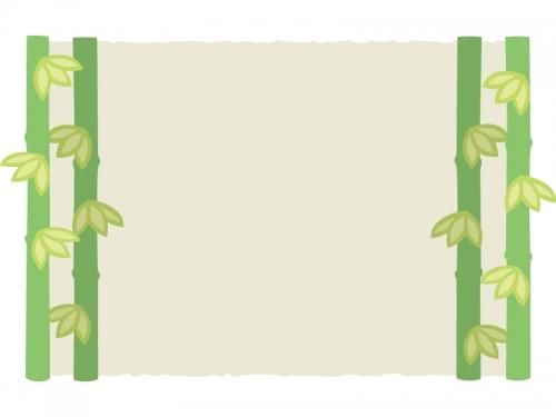 左右の竹の和風フレームの飾り枠イラスト