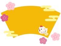 にわとり親子の置物と扇のフレーム飾り枠イラスト