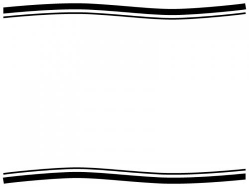 白黒のシンプルな上下の二重波線フレーム飾り枠イラスト