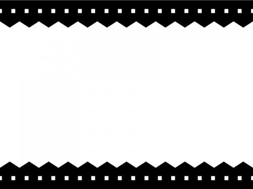 白黒のギザギザと点線の上下シンプルフレーム飾り枠イラスト