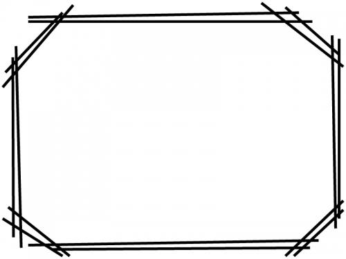 白黒の手書き風二重線のシンプルフレーム飾り枠イラスト03